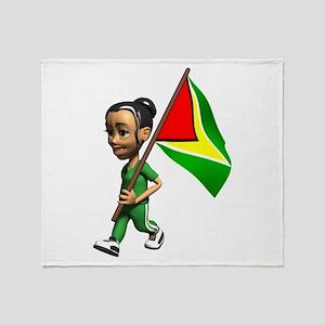 Cute 3D Guyana Flag Throw Blanket