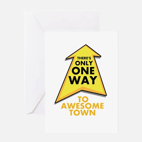 One Way to Awesome Town Greeting Card