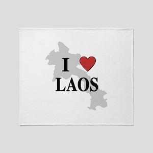 I Love Laos Throw Blanket