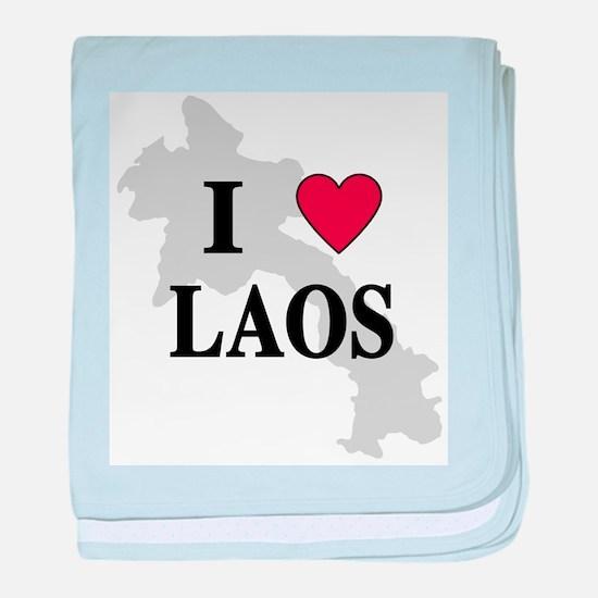 I Love Laos baby blanket