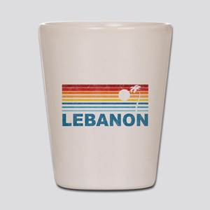 Retro Palm Tree Lebanon Shot Glass