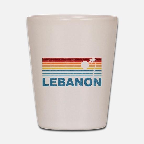 Retro Palm Tree Lebanon Shot Glass