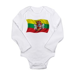 Wavy Lithuania Flag Long Sleeve Infant Bodysuit