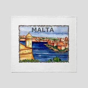 Vintage Malta Art Throw Blanket