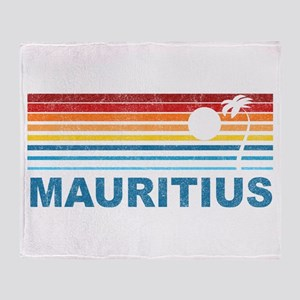Retro Mauritius Palm Tree Throw Blanket