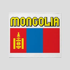 Mongolia Flag Throw Blanket