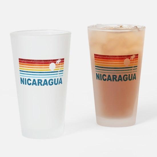 Retro Nicaragua Palm Tree Pint Glass