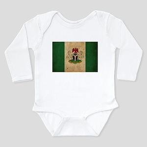 Vintage Nigeria Flag Long Sleeve Infant Bodysuit
