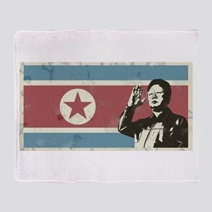 Vintage North Korea Throw Blanket