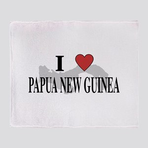 I Love Papua New Guinea Throw Blanket