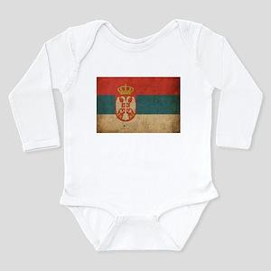 Vintage Serbia Flag Long Sleeve Infant Bodysuit
