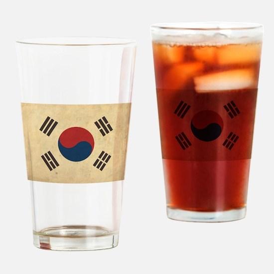 Vintage South Korea Flag Pint Glass