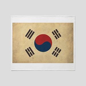 Vintage South Korea Flag Throw Blanket