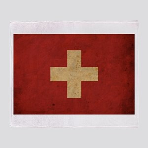 Vintage Switzerland Flag Throw Blanket