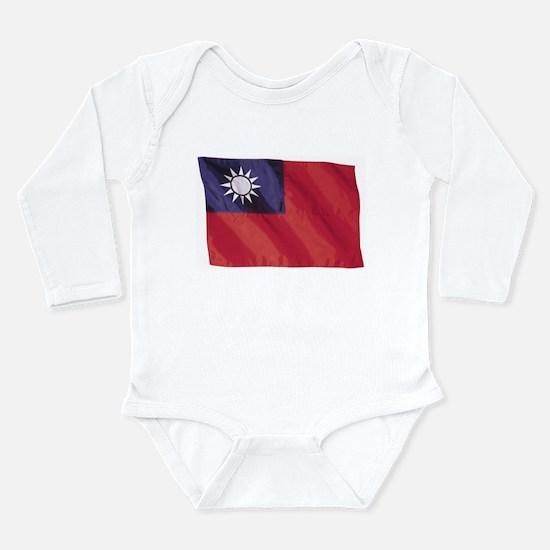 Wavy Taiwan Flag Long Sleeve Infant Bodysuit