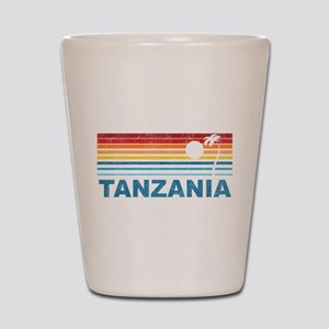Retro Palm Tree Tanzania Shot Glass