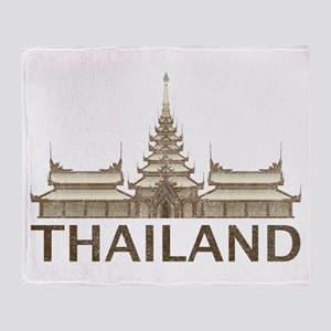 Vintage Thailand Temple Throw Blanket
