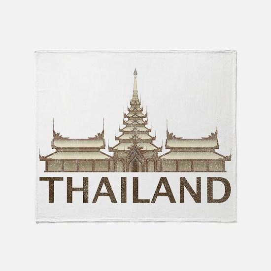 Vintage Thailand Temple Throw Blanket