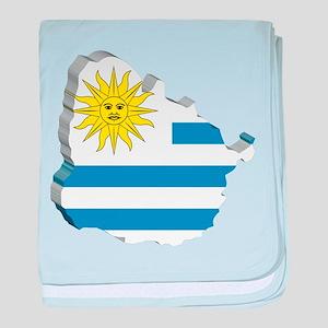 3D Map Of Uruguay baby blanket