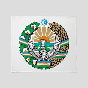 Uzbekistan Coat Of Arms Throw Blanket