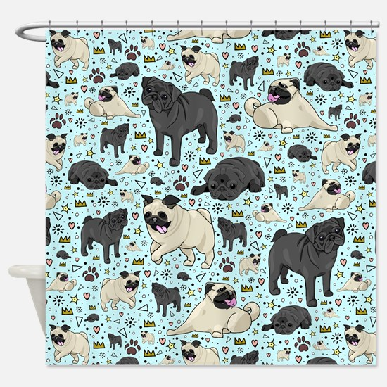 Funny Pug or pugs Shower Curtain
