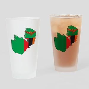 3D Zambia Map Pint Glass