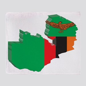3D Zambia Map Throw Blanket