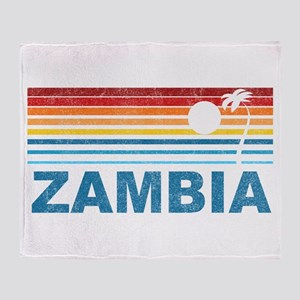 Retro Palm Tree Zambia Throw Blanket