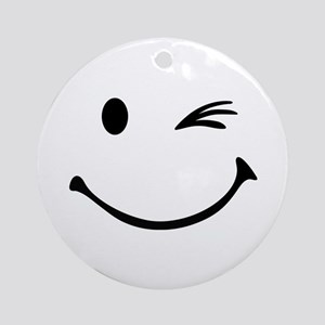 Smiley wink Ornament (Round)