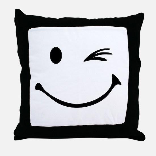 Smiley wink Throw Pillow