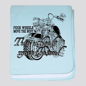 Two wheels move the soul baby blanket