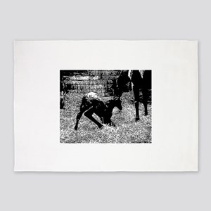 AFTM Foal getting up BW 5'x7'Area Rug