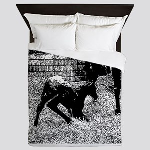 AFTM Foal getting up BW Queen Duvet
