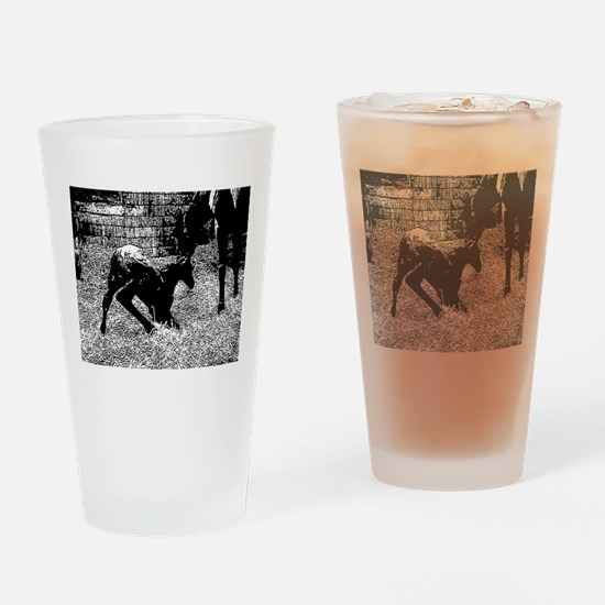 AFTM Foal getting up BW Drinking Glass