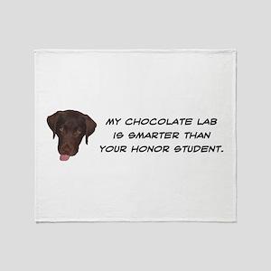 Smart Chocolate Labrador Throw Blanket