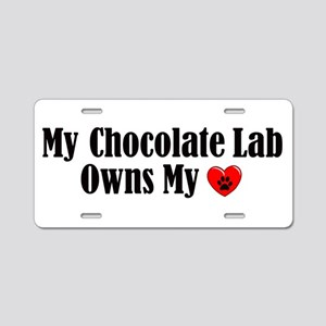 Heart Owning Lab Aluminum License Plate