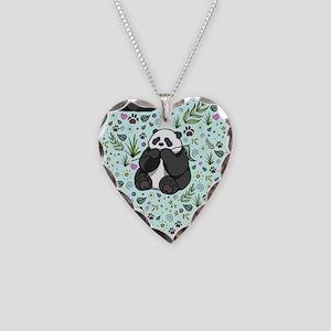 Pandas Necklace Heart Charm