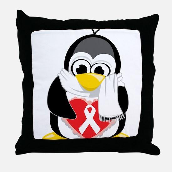 White Ribbon Penguin Throw Pillow