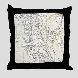 Vintage Map of Egypt (1837) Throw Pillow