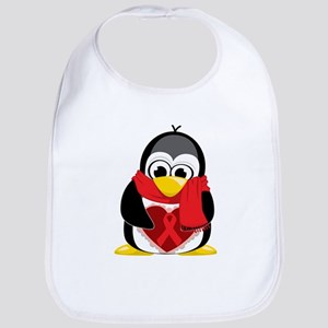 Red Ribbon Scarf Penguin Bib