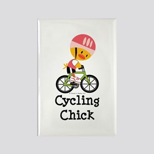 Cycling Chick Rectangle Magnet