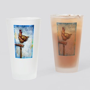 Chicken, colorful, art, Pint Glass
