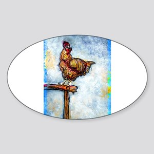 Chicken, colorful, art, Sticker (Oval)