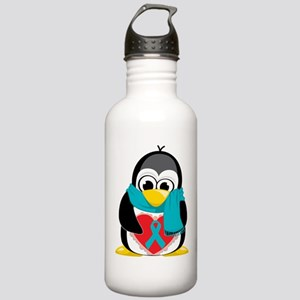 Teal Ribbon Scarf Penguin Stainless Water Bottle 1