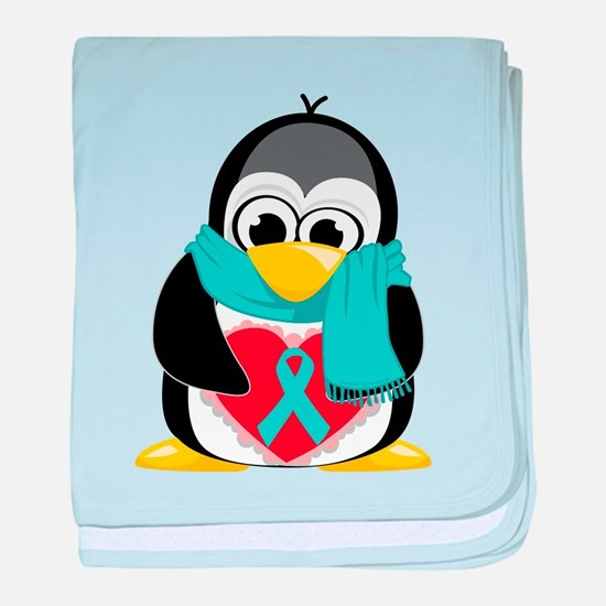 Teal Ribbon Scarf Penguin baby blanket