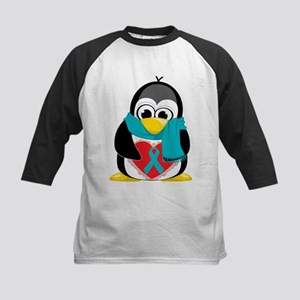 Teal Ribbon Scarf Penguin Kids Baseball Jersey