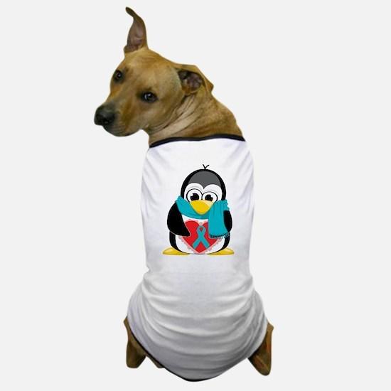 Teal Ribbon Scarf Penguin Dog T-Shirt