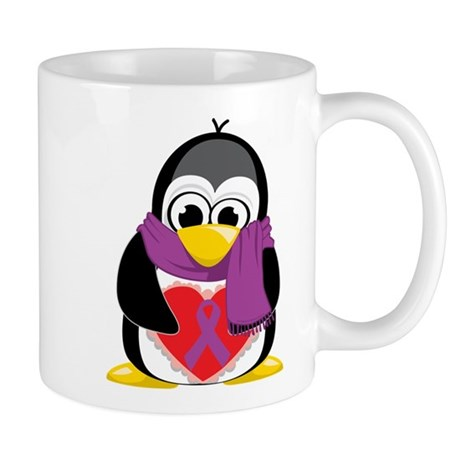 Purple Ribbon Scarf Penguin Mug
