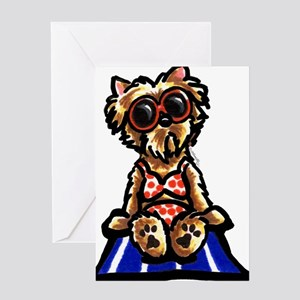 Beach Yorkie Greeting Card
