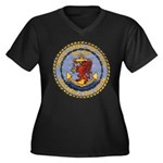 USS DAVIS Women's Plus Size V-Neck Dark T-Shirt